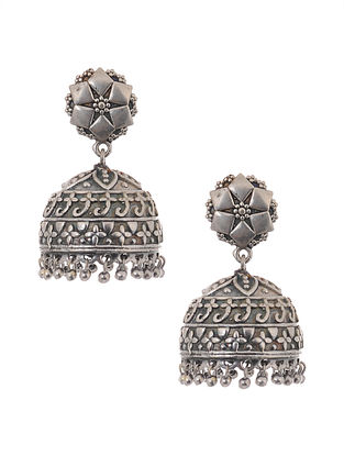 Silver Tone Jhumki Handcrafted Earrings
