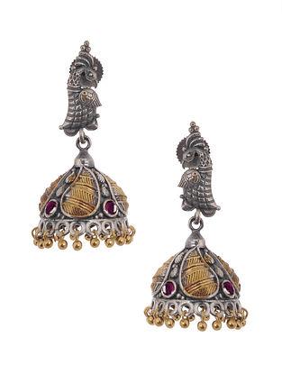 Pink Dual Tone Jhumki Handcrafted Earrings