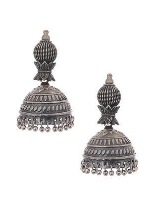 Silver Tone Jhumki Handcrafted Earrings