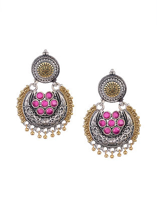Pink Dual Tone Tribal Chandbali Earrings