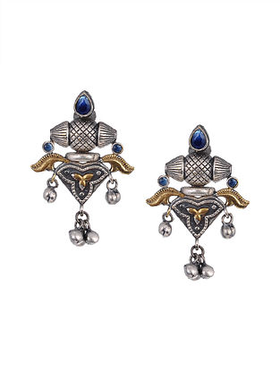 Black Dual Tone Tribal Earrings