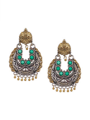 Green Dual Tone Tribal Earrings
