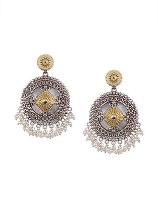 Dual Tone Tribal Earrings with Pearls