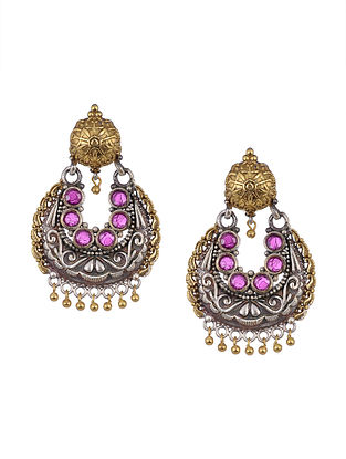 Pink Dual Tone Tribal Earrings