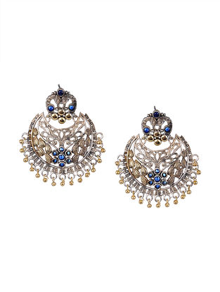 Blue Dual Tone Tribal Chandbali Earrings