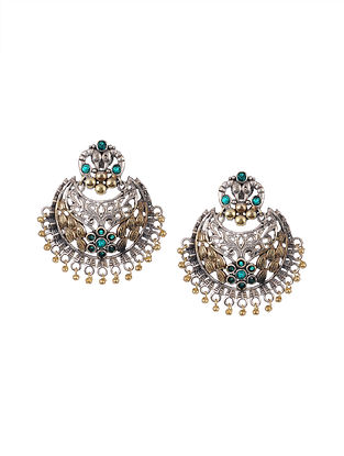 Green Dual Tone Tribal Chandbali Earrings