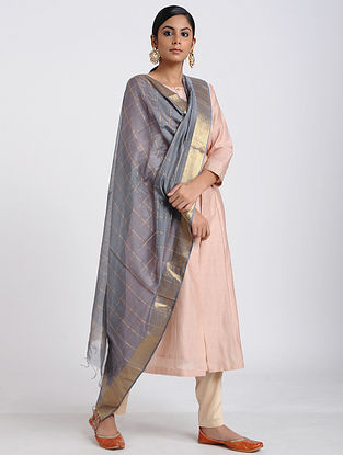 Grey Handloom Maheshwari Dupatta with Zari