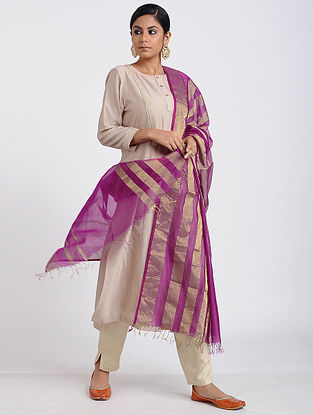 Purple Handloom Maheshwari Dupatta with Zari