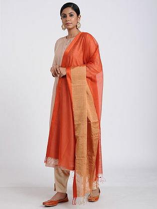 Red Handloom Maheshwari Dupatta with Zari