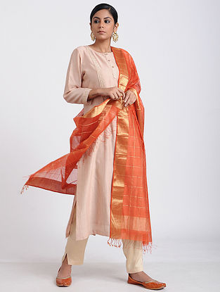Orange Handloom Maheshwari Dupatta with Zari