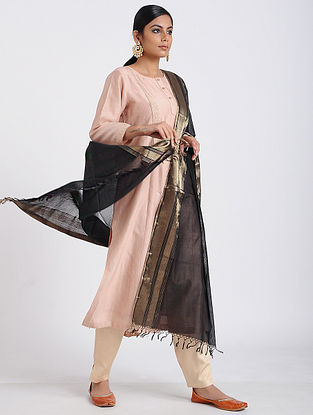 Black Handloom Maheshwari Dupatta with Zari