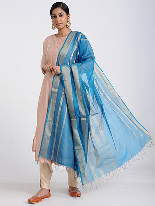 Blue Handloom Maheshwari Dupatta with Zari