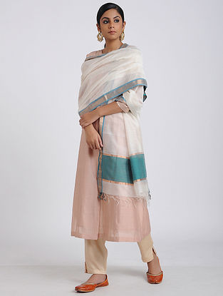 White-Blue Handloom Maheshwari Dupatta with Zari