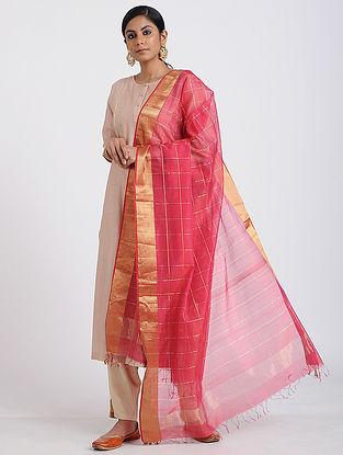 Pink Handloom Maheshwari Dupatta with Zari