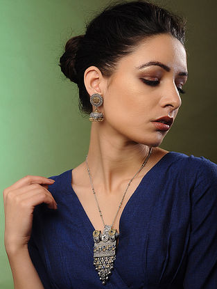Blue Dual Tone Handcrafted Necklace with Earrings (Set of 2)