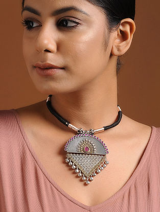 Pink-Black Dual Tone Brass and Thread Necklace