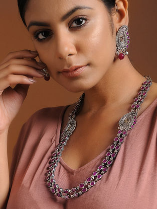 Pink Dual Tone Brass Necklace with Earrings (Set of 2)