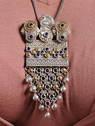 Blue Dual Tone Brass Necklace