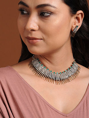 Green Dual Tone Brass Necklace with Earrings (Set of 2)