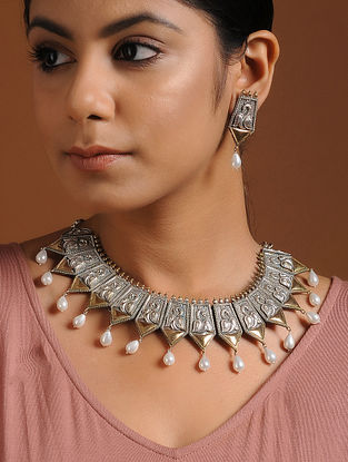 Classic Dual Tone Brass Necklace with Earrings (Set of 2)