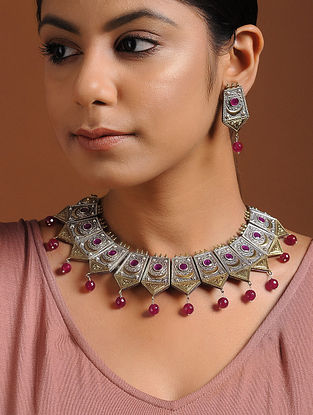Pink-Red Dual Tone Brass Necklace with Earrings (Set of 2)