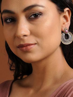 Pink Silver Tone Brass Earrings