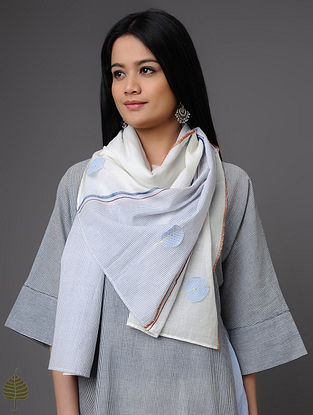 Ivory-Blue Cotton Scarf with Applique by Jaypore
