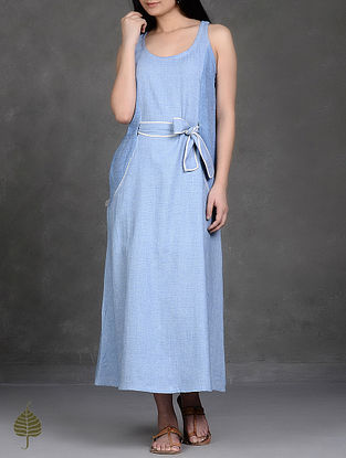 Blue Tie-Up Waist Handloom Cotton Dress by Jaypore