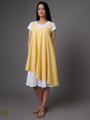 Yellow-Ivory Handloom Khadi Dress by Jaypore (Set of 2)