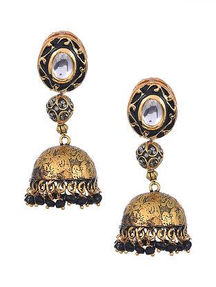 Black Gold Tone Kundan Enameled Jhumki Earrings