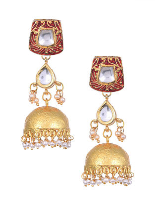 Red Gold Tone Kundan Enameled Jhumki Earrings with Pearls