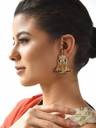 Green Red Gold Tone Kundan Earrings with Ear Chains