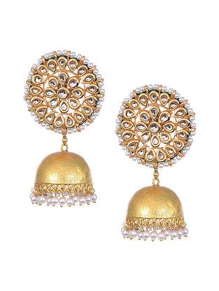 Gold Tone Kundan Pearl Beaded Jhumki Earrings