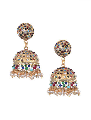 Multicolored Gold Tone Handcrafted Jhumki Earrings