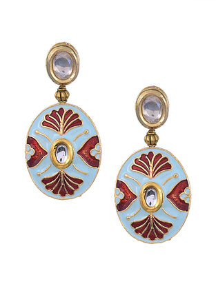 Blue Red Gold Tone Kundan Enameled Earrings