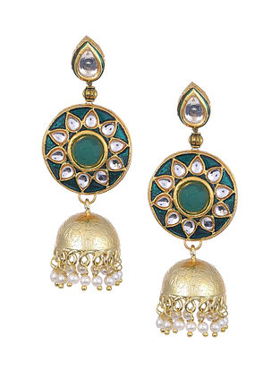 Green Gold Tone Kundan Enameled Jhumki Earrings