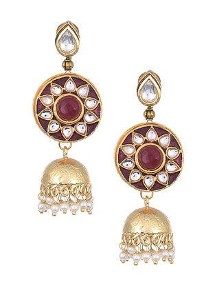 Maroon Gold Tone Kundan Enameled Jhumki Earrings