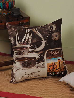 Coffee with Rajasthan Digitally-Printed Cushion Cover 16in x 15.5in