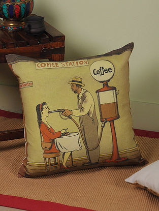 Coffee with Rajasthan Digitally-Printed Cushion Cover 16in x 16in
