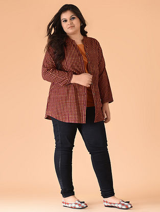 4be8e624b8e Maroon-Orange Black-printed Cotton Top with Jacket (Set of 2). Sold out.  JAYPORE