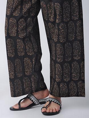 Black Elasticated-waist Block-printed Cotton Palazzos by Jaypore