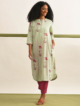 GULAAB - Pink-Lime Block Printed Cotton Kurta