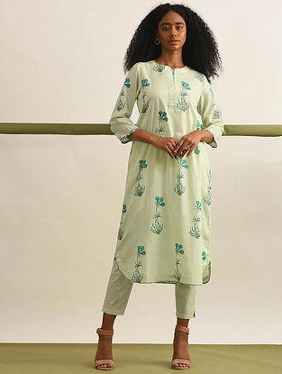 KAMAL - Lime-Green Block Printed Cotton Kurta