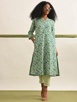 SURYAMUKHI - Lime-Green Block Printed Cotton Kurta