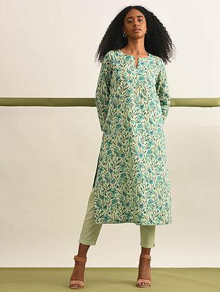 NARGIS - Lime-Green Block Printed Cotton Kurta