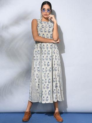 Ivory-Indigo Dabu-Printed Cotton Dress