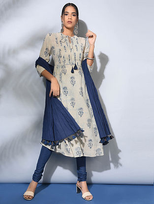 Ivory-Indigo Dabu-Printed Cotton Kurta with Pleats