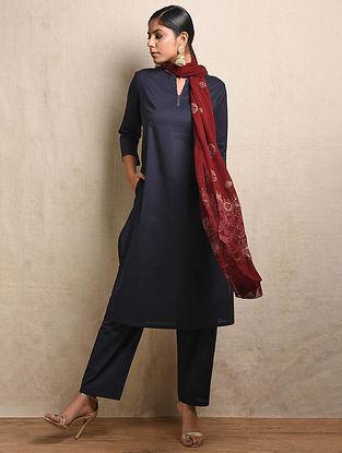 Blue Cotton Kurta with Pockets