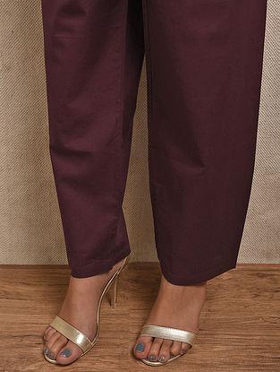 Maroon Tie-up Waist Cotton Pants