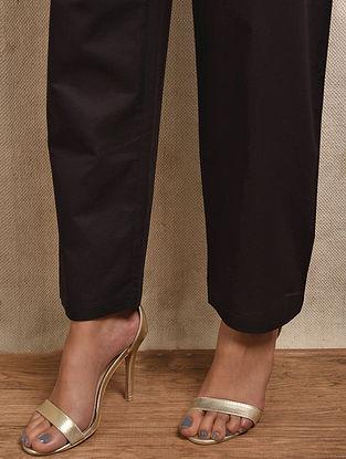 Black Tie-up Waist Cotton Pants
